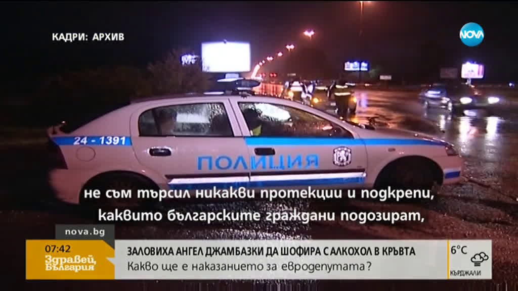 Хванаха Ангел Джамбазки да шофира с алкохол в кръвта