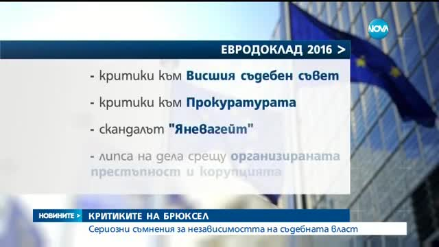 Брюксел: Имаме сериозни съмнения за независимостта на съдебната власт в България