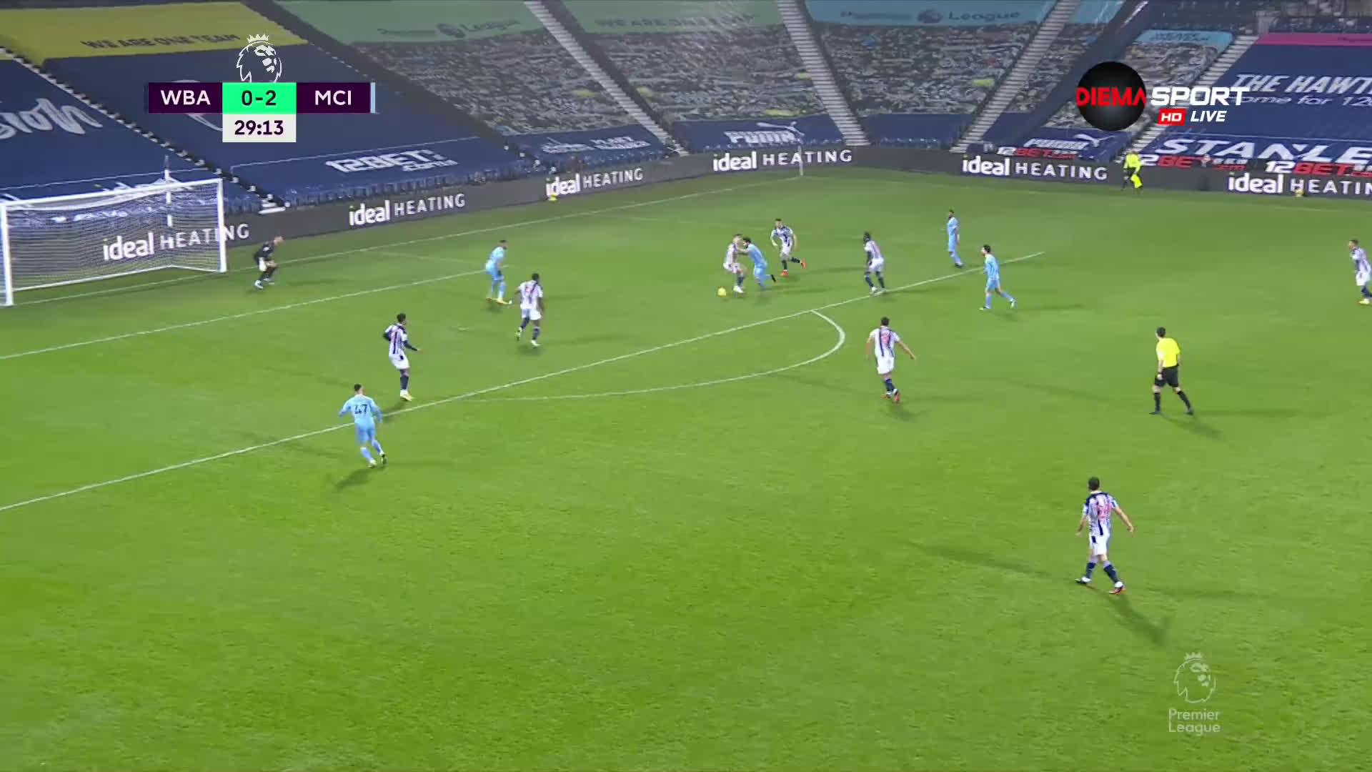 Уест Бромич - Манчестър Сити 0:4 /първо полувреме/