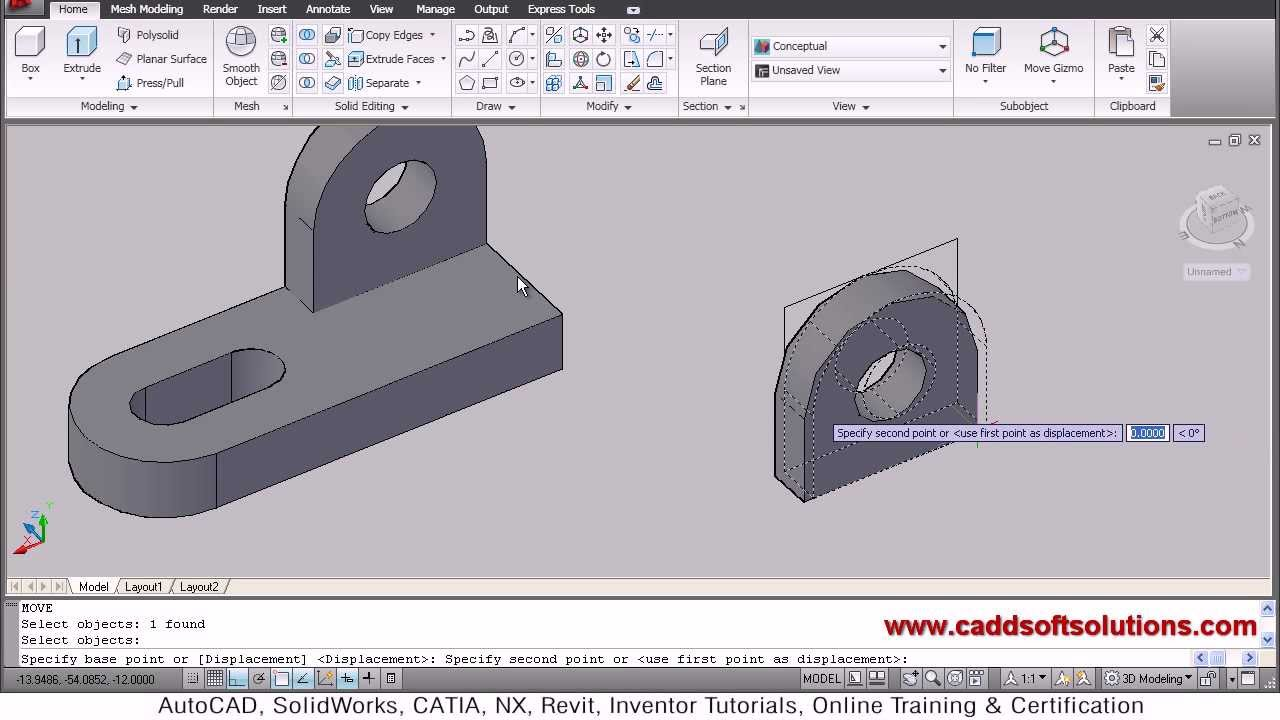 Autocad 3d Drawing Modeling Tutorial for Beginners | Autocad 2010 ...